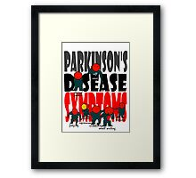 Parkinson's disease symptoms, tremors, freezing of gait, masked expressions, slow movements, bradykinesia, soft voice, micro graphia, small hand writing Framed Print
