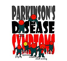 Parkinson's disease symptoms, tremors, freezing of gait, masked expressions, slow movements, bradykinesia, soft voice, micro graphia, small hand writing Photographic Print