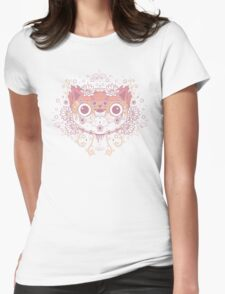 Cat flower Womens Fitted T-Shirt
