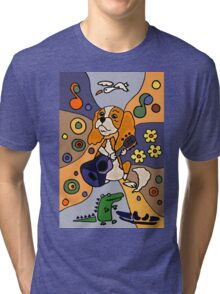 Cool Funny Cavalier King Charles Spaniel Abstract Art Tri-blend T-Shirt
