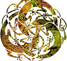 Lizards Mandala  - green & yellow by DreaMground