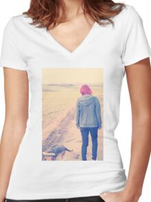 Countryside afar Women's Fitted V-Neck T-Shirt