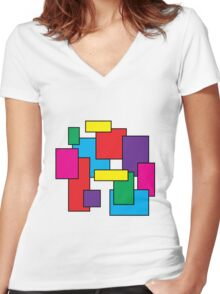 squares Women's Fitted V-Neck T-Shirt