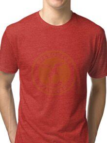 Pterosaur Fancier Tee (Orange on White) Tri-blend T-Shirt