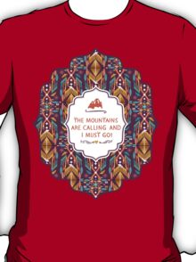Hipster seamless aztec pattern with geometric elements and typographic text T-Shirt