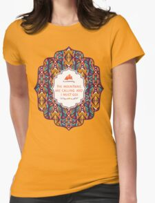 Hipster seamless aztec pattern with geometric elements and typographic text Womens Fitted T-Shirt