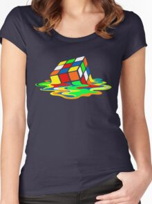 The Big Bang Theory Sheldon Cooper Melting Rubik's Cube cool geek Women's Fitted Scoop T-Shirt