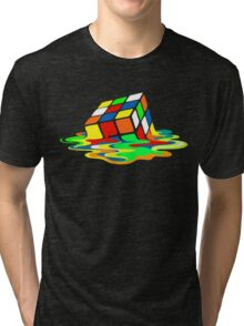 The Big Bang Theory Sheldon Cooper Melting Rubik's Cube cool geek Tri-blend T-Shirt