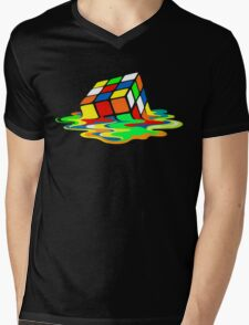 The Big Bang Theory Sheldon Cooper Melting Rubik's Cube cool geek Mens V-Neck T-Shirt