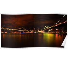 The Manhattan and Brooklyn Bridges at Night Poster