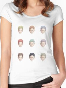 Colorful Tilda Heads on White Women's Fitted Scoop T-Shirt