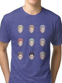 Colorful Tilda Heads on White Tri-blend T-Shirt
