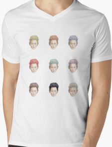 Colorful Tilda Heads on White Mens V-Neck T-Shirt