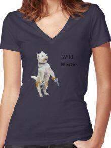 Wild Westie. Women's Fitted V-Neck T-Shirt