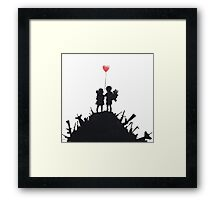 Banksy 'kids on guns hill' graffiti art. Framed Print