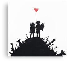 Banksy 'kids on guns hill' graffiti art. Canvas Print