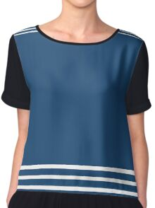 Trendy Navy and White Stripes Design Chiffon Top