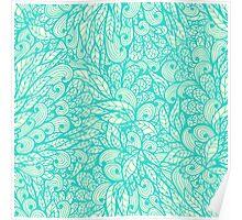Blue ornamental floral pattern Poster