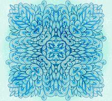 Blue ornamental floral cross by Patternalized