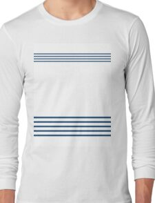Trendy Nautical Navy White Stripes Design Long Sleeve T-Shirt