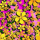 Orange & Yellow Flowers on Pink by Gravityx9