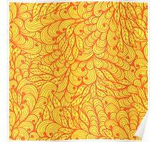 Orange ornamental floral pattern Poster
