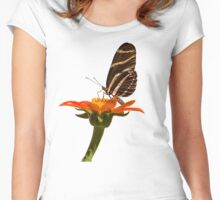 Butterfly on Zinnia Women's Fitted Scoop T-Shirt