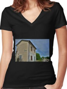 Disused Rail Building Between Moimacco and Cividale del Friuli Women's Fitted V-Neck T-Shirt