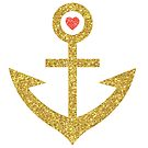 Gold Glitter Print Nautical Boat Anchor by artonwear