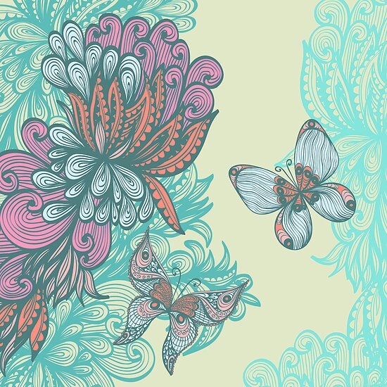 Butterfly & Rose by Patternalized
