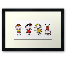 Stitch School figures isolated on white Framed Print