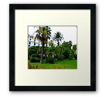 Palms And Geraniums Framed Print