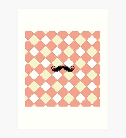 Checked and Mustache Phone cases, iPad Cases, and iPod Cases Art Print