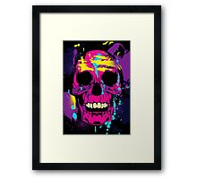 Cool Colorful Skull with Paint Splatters and Drips Framed Print