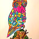 Very Colourful Folk Art Owl No:1 by jonkania