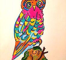 Very Colourful Folk Art Owl No:1 by jonkania