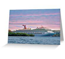 Cruise ship on Roatan Greeting Card