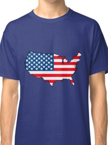 United States of America Map with USA Flag Classic T-Shirt