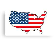 United States of America Map with USA Flag Canvas Print