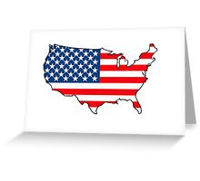 United States of America Map with USA Flag Greeting Card