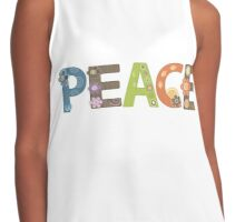 Peace Word Floral Pattern Illustration Contrast Tank
