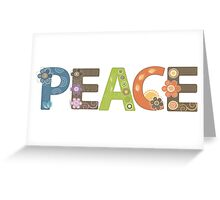 Peace Word Floral Pattern Illustration Greeting Card