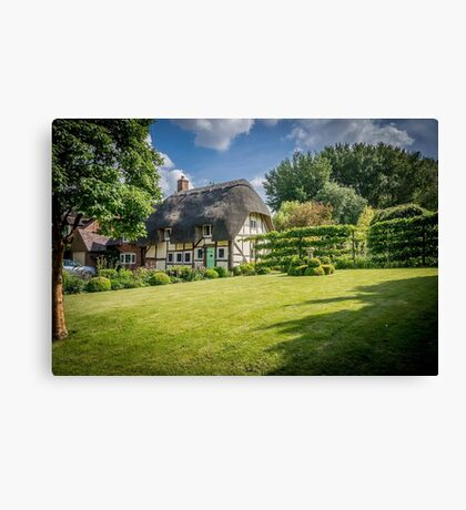 English Village Thatched Cottage and garden Canvas Print