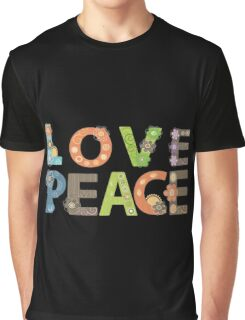 Love Peace Word Floral Pattern Illustration Graphic T-Shirt