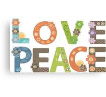 Love Peace Word Floral Pattern Illustration Canvas Print