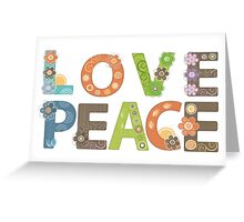 Love Peace Word Floral Pattern Illustration Greeting Card