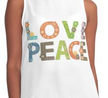 Love Peace Word Floral Pattern Illustration Contrast Tank