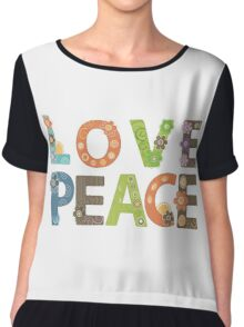 Love Peace Word Floral Pattern Illustration Chiffon Top