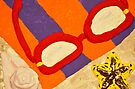 Beach Towel with Glasses, Seashell, and Starfish by Kim McClain Gregal