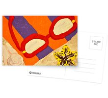 Beach Towel with Glasses, Seashell, and Starfish Postcards